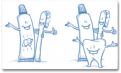 Plakat - Cute happy cartoon toothbrush and toothpaste with and without happy tooth. Hand drawn line art cartoon vector illustration.
