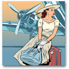 Plakat - Lady traveler at the airport