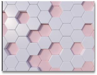 Plakat - Rose Quartz  abstract 3d hexagon background bee hive