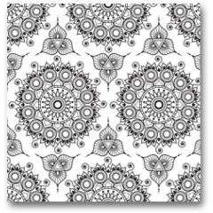Plakat - Background with black and white mehndi henna seamless lace buta decoration items on white background in Indian style.