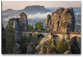 Plakat - The Bastei bridge, Saxon Switzerland National Park, Germany