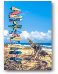 Plakat - World travel signpost