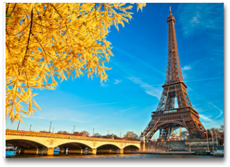Plakat - Eiffel tower at sunrise, Paris.
