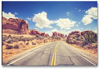 Plakat - Retro stylized scenic road, Arches National Park, USA