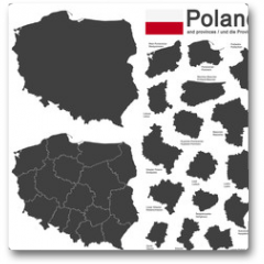 Plakat - country Poland and voivodeships
