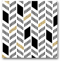 Plakat - Seamless Chevron Pattern. With Glittering Gold and thin lines