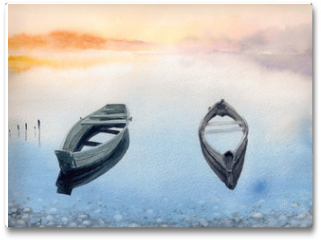 Plakat - Two old boats on the lake.Picture created with watercolors.