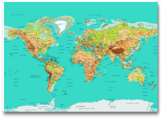 Plakat - Map of the World, vector illustration. Names and borders on separate layer.