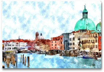 Plakat - Abstract watercolor digital generated painting of the main water canal, houses and gondolas in Venice, Italy.