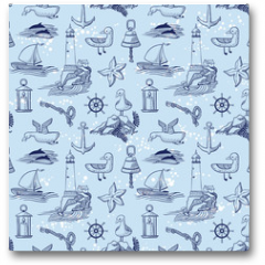 Plakat - marine vector seamless background with lighthouse and seagulls