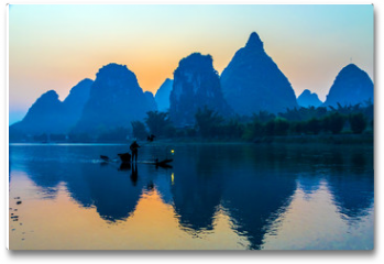 Plakat - Silhouette of Fisherman with Cormorant Bird on Boat China River