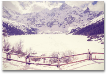 Plakat - Vintage stylized frozen lake Morskie Oko in Tatra Mountains, most popular mountain lake in Poland.