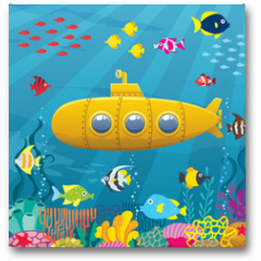 Plakat - Submarine Background / Cartoon yellow submarine underwater.