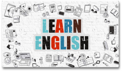 Plakat - Learn English Concept. Multicolor Inscription on White Brick Wall with Doodle Icons Around. Modern Style Illustration with Doodle Design Icons. Learn English on White Brickwall Background.