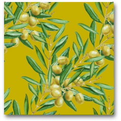 Plakat - Background olive branch. seamless pattern. watercolor illustrati