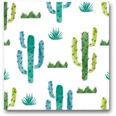 Plakat - Watercolor cactus seamless pattern. Vector background with green and blue cactus isolated on white.