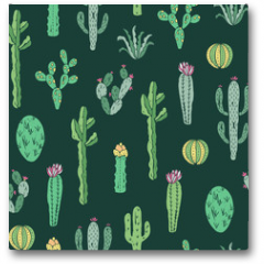 Plakat - Cactus seamless pattern. Vector background with cactus and succulents