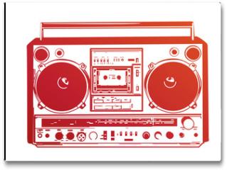 Plakat - Vector illustration of vintage boombox