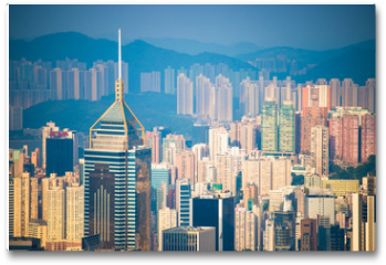 Plakat - Skyscraper view from the Peak Tower, landmark of Hong Kong