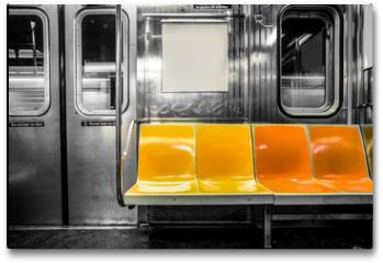 Plakat - New York City subway car interior with colorful seats