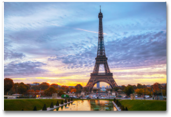 Plakat - Cityscape with the Eiffel tower in Paris, France