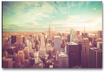 Plakat - Vintage tone view of New York City skyline view across Manhattan