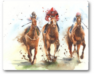 Plakat - Horse racing race riding sport jockeys competition horses running watercolor painting illustration