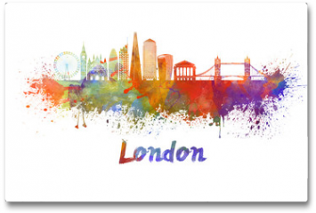 Plakat - London V2 skyline in watercolor splatters with clipping path