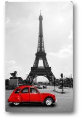 Plakat - Eiffelturm in Paris mit roter Ente - Tour Eiffel Eiffeltower