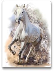 Plakat - White horse runs watercolor painting