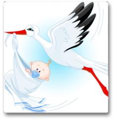 Plakat - Stork delivering a newborn baby boy