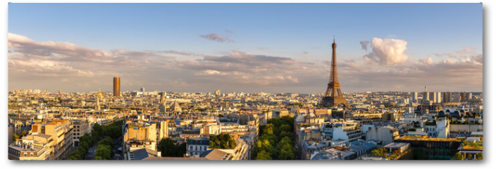 Plakat - Panoramic summer view of Paris rooftops at sunset with the Eiffel Tower. 16th Arrondissement, Paris, France