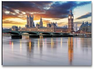 Plakat - London - Big ben and houses of parliament, UK