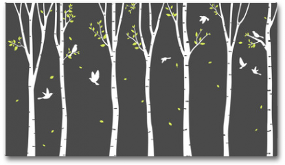 Plakat - Birch Tree with deer and birds Silhouette Background