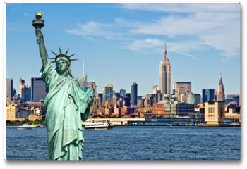 Plakat - New York skyline and the Statue of Liberty, New York City collage, travel and tourism postcard concept, USA