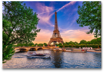 Plakat - Paris Eiffel Tower and river Seine at sunset in Paris, France. Eiffel Tower is one of the most iconic landmarks of Paris.