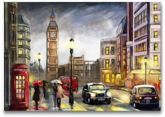 Plakat - oil painting on canvas, street view of london. Artwork. Big ben. couple and red umbrella, bus and road, telephone. Black car - taxi. England