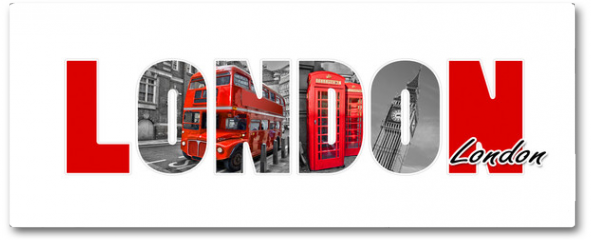 Plakat - London letters, isolated on white background, travel and tourism in UK concept