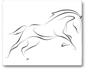 Plakat - Running black line horse on white background. Vector graphic.