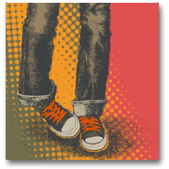 Plakat - background with jeans and sneakers