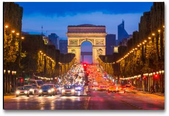 Plakat - Champs Elysees and Arc de Triomphe, Paris