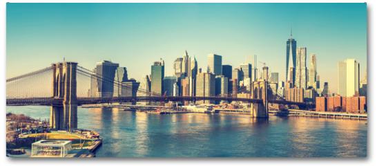 Plakat - Brooklyn bridge and Manhattan at sunny day, New York City
