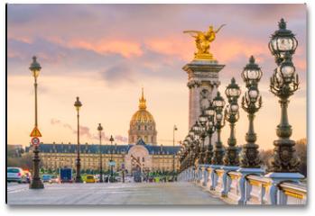 Plakat - The Alexander III Bridge across Seine river in Paris