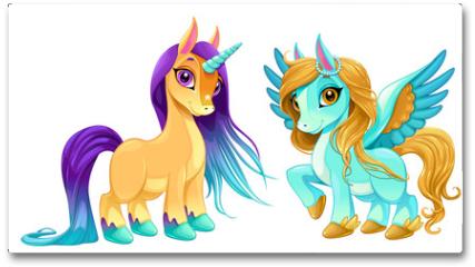Plakat - Baby unicorn and pegasus with cute eyes