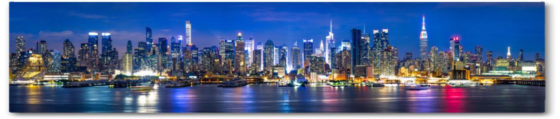 Plakat - New York City Manhattan Skyline Panorama bei Nacht