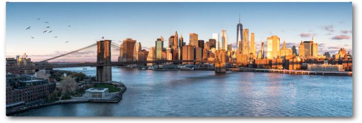 Plakat - East River mit Blick auf Manhattan und die Brooklyn Bridge, New York, USA