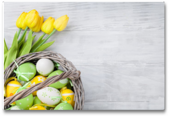 Plakat - Easter eggs and tulip flowers