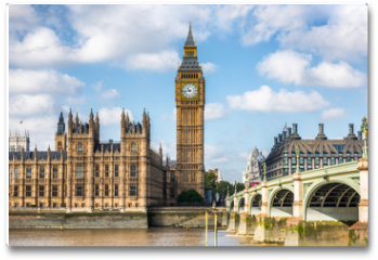 Plakat - London city travel holiday background. Big Ben and Houses of parliament with Westminster bridge in London, England, Great Britain, UK.