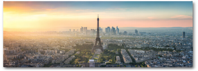 Plakat - Paris Skyline Panorama bei Sonnenuntergang mit Eiffelturm