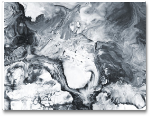 Plakat - Black and white marble abstract hand painted background